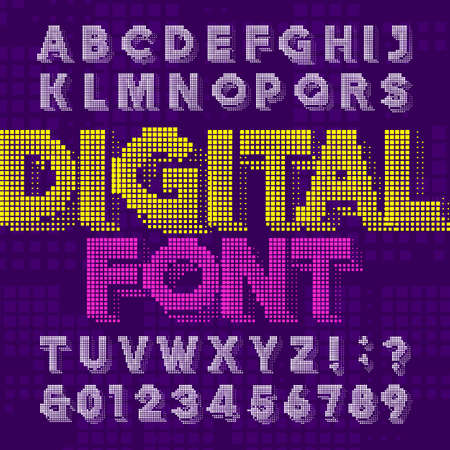 Digital alphabet font. Pixel letters and numbers in green color. 80s retro arcade video game typeface.