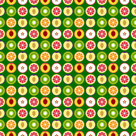 Fruit seamless pattern. Simple vector fruits on a green background.