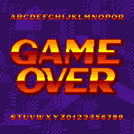 Game Over alphabet font. Digital gradient letters and numbers on pixel background. 80s retro arcade video game typeface. Çizim
