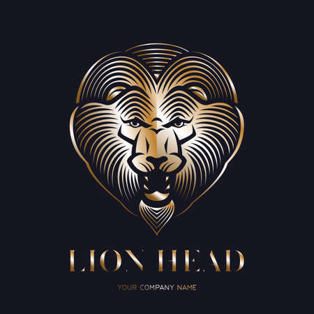 Golden lion head logo or icon. Roaring animal head. Stock vector emblem.