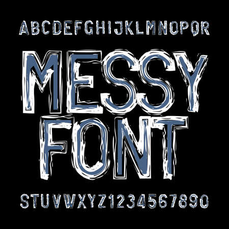 Messy alphabet font. Distressed type letters and numbers. Vector typeface for your design.