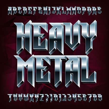 Czcionka alfabetu 3D Heavy Metal. Litery i cyfry z efektem metalu. Wektor krój pisma dla swojego projektu.