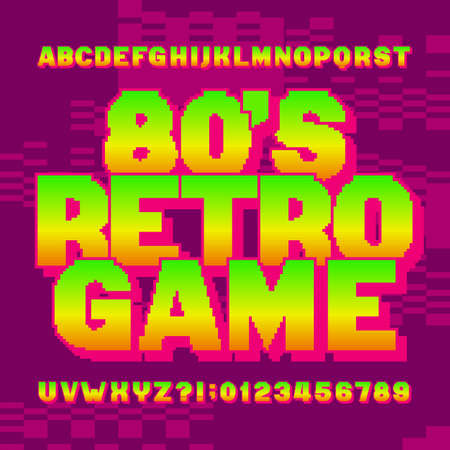 80s retro game alphabet font. Digital gradient letters and numbers on pixel background. 80s video game typescript.
