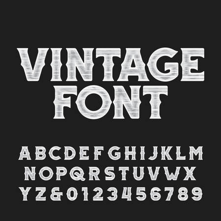 Vintage alphabet font. Scratched bold letters and numbers in Wild West style. Vector typescript for your design.