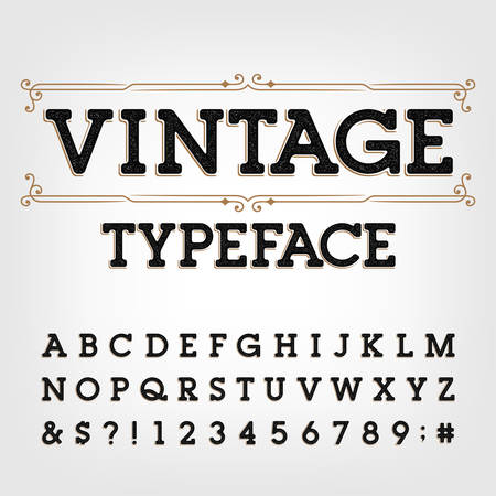 Carattere tipografico vintage. Lettere, numeri e simboli retrò graffiati. Alfabeto vettoriale per il tuo design tipografico.