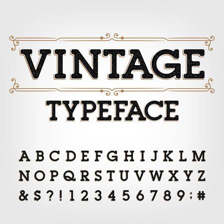 Vintage krój pisma. Porysowane litery, cyfry i symbole w stylu retro. Wektor alfabet do projektowania typografii.