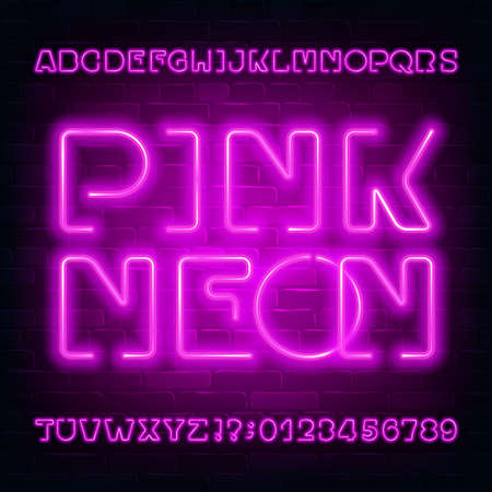 Pink Neon alphabet font. Modern light bulb letters and numbers on brick wall background. Stock vector typescript for your typography design.