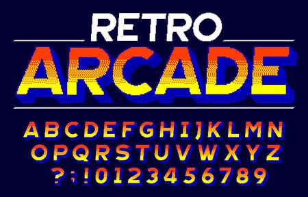 Retro Arcade alphabet font. 3D pixel letters and numbers. Retro 80s video game typescript. Çizim