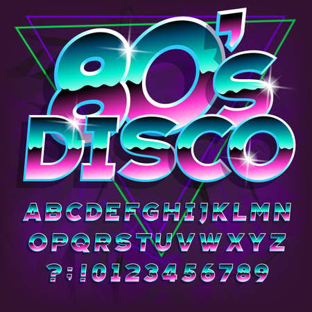 80s Disco alphabet font. Letters and numbers on dark abstract background. Stock vector typescript for your typography in retro 80s style. Çizim