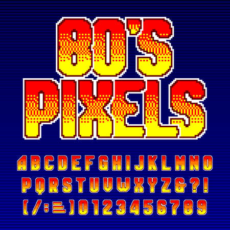 80s Pixel alphabet font. Colorful digital letters, numbers and symbols. Retro 80s arcade video game typescript. 向量圖像