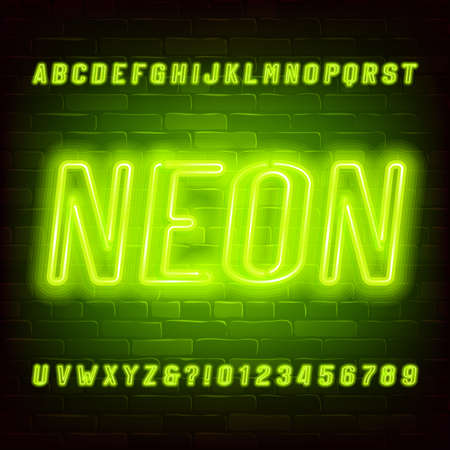 Neon Alphabet Font  Bright Neon Oblique Letters And Numbers