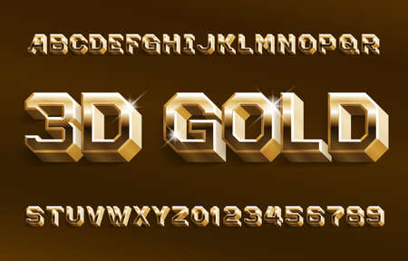 3D gold alphabet font. Shiny golden beveled letters and numbers. Stock vector typeface for your design. Foto de archivo - 129293748
