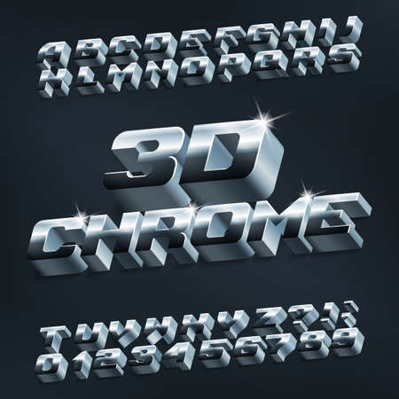3D chrome alphabet font. Metallic letters and numbers with shadow. Stock vector typeface for your design. Foto de archivo - 129521889