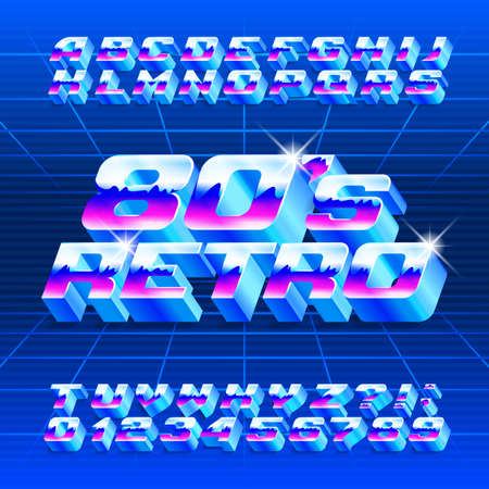 80s Retro alphabet font. 3D letters, numbers and symbols. Stock vector typescript for typography in retro 80 style.