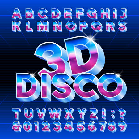 3D Disco alphabet font. Letters, numbers and symbols. Stock vector typescript for typography in retro 80 style. Stock Illustratie