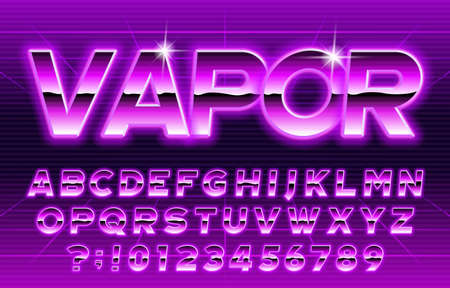 80s Vapor alphabet font. Glow letters and numbers. Stock vector typescript for your typography in retro 80 style.