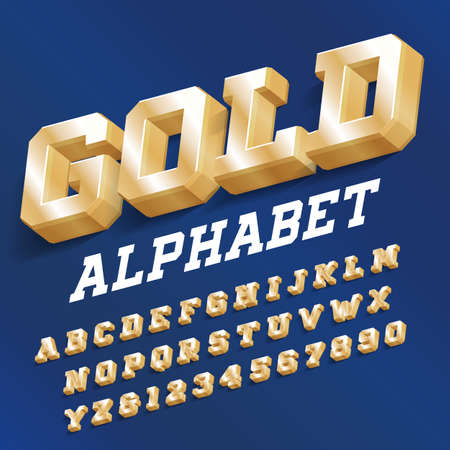 Gold alphabet font. 3D Golden serif letters and numbers with shadow. Stock vector typeface for your design. Foto de archivo - 129521896