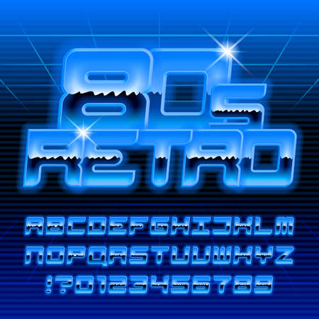 80s retro alphabet font. Glow letters and numbers in blue colors. Stock vector typeface for your typography in retro 80 style. Stock Illustratie
