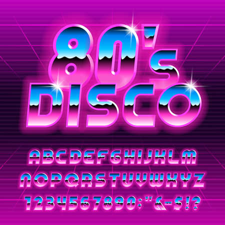 80s Disco alphabet font. Glow letters and numbers. Stock vector typescript for your typography in retro 80 style.