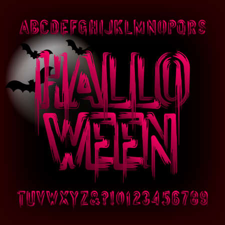Halloween alphabet font. Brush stroke blood letters and numbers. Hand drawn vector typography for your typography design.