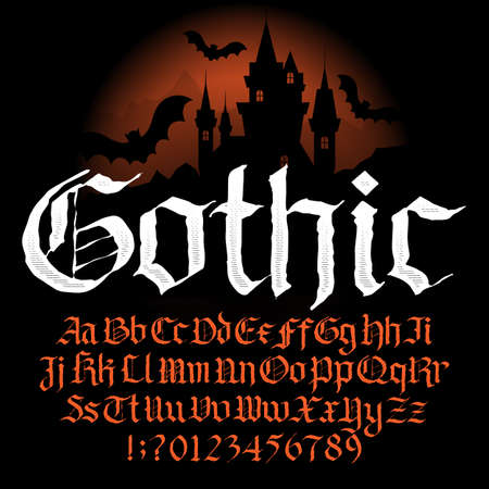 Gothic alphabet font. Hand drawn uppercase and lowercase letters and numbers. Vector typography for your design.