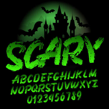 Scary alphabet font. Brush stroke letters and numbers. Handwritten vector typography for your design.