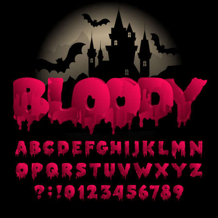 Bloody alphabet font. Hand drawn blood letters and numbers. Vector typography for your design. Иллюстрация