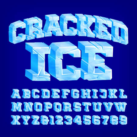 Cracked Ice alphabet font. 3D letters and numbers. Stock vector typeface for your typography design.