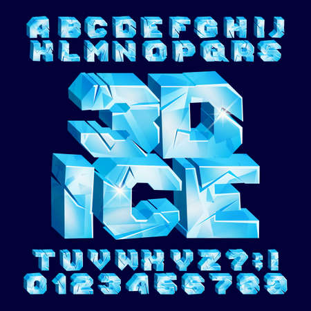 3D Ice alphabet font. Frozen letters and numbers. Stock vector typeface for your typography design. Ilustrace
