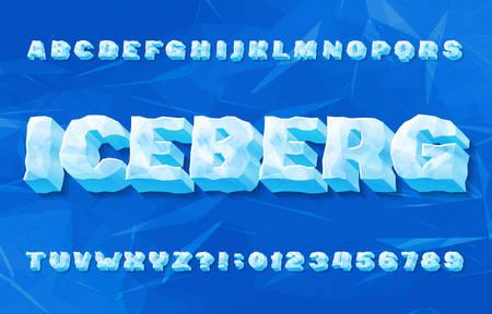 Fuente del alfabeto iceberg. Números y letras de hielo 3D con sombra. Fondo geométrico abstracto. Tipografía vectorial de stock para su diseño de tipografía.