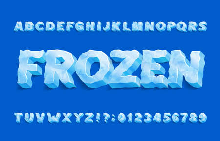 Frozen alphabet font. 3D ice letters and numbers with shadow. Stock vector typeface for your typography design.