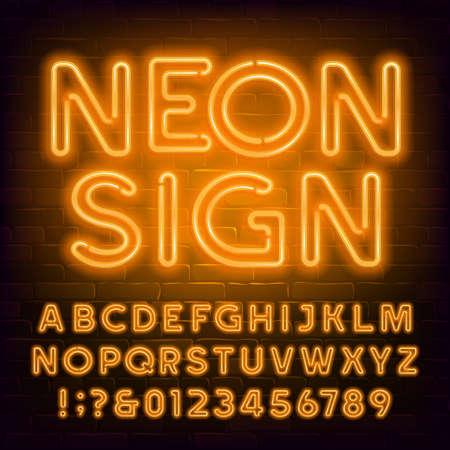 Orange neon alphabet font. Retro light bubble letters and numbers on brick wall background. Stock vector typescript for your typography design.