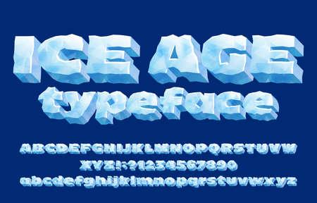 Krój alfabetu epoki lodowcowej. Lodowe litery i cyfry 3D. Wielka i mała litera. Stockowa czcionka wektorowa do projektowania typografii.