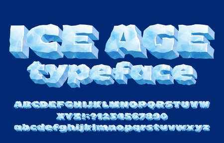 Tipo de letra del alfabeto de la Edad de Hielo. Números y letras de hielo 3D. Mayúscula y minúscula. Fuente vectorial de stock para su diseño de tipografía.