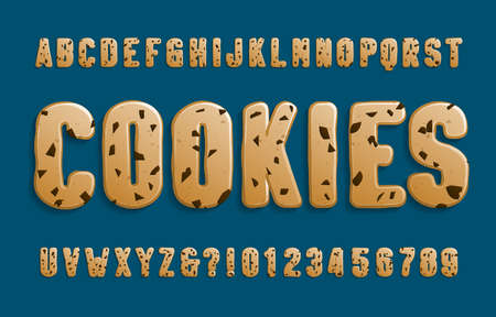 Cookies alphabet font. Cookie letters and numbers with chocolate chips. Stock vector illustration for your design.