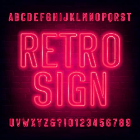 Retro Sign alphabet font. Red neon light letters and numbers on brick wall background. Stock vector typescript for your typography design. Иллюстрация