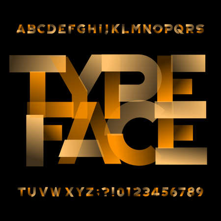 Abstract alphabet font. Transparent geometric letters and numbers. Easy color change. Stock vector typescript for your typography design.