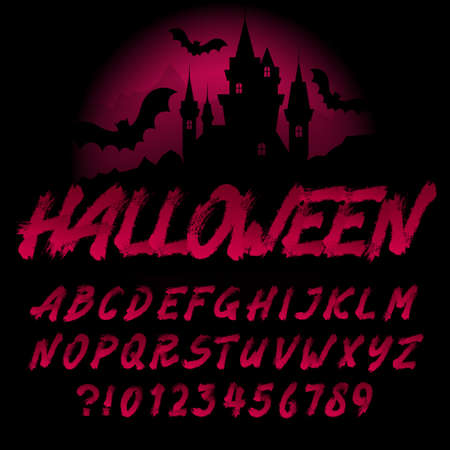 Halloween alphabet font. Handwritten brushstroke letters and numbers. Stock vector typography for your typography design.