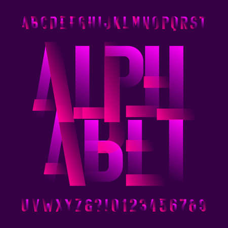 Abstract alphabet font. Two color letters and numbers. Easy color change. Stock vector typeface for your typography design.