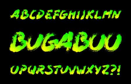 Bugaboo alphabet font. Brushstroke letters. Stock vector typography for your typography design. Иллюстрация