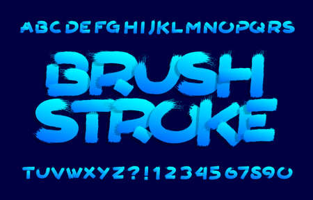 Brushstroke alphabet font. Uppercase hand drawn letters and numbers. Stock vector typescript for your typography design.