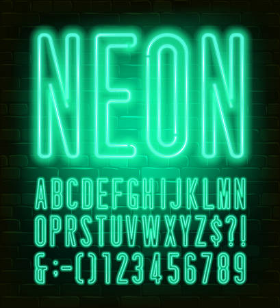 Neon alphabet font. Condensed neon light letters and numbers on brick wall background. Stock vector typescript for your typography design.