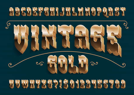 Vintage Gold alphabet font. 3D retro golden letters, numbers and symbols with shadow. Stock vector typescript for your design. Иллюстрация