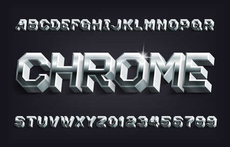 Chrome alphabet font. 3D Metallic letters and numbers with shadow. Stock vector typescript for your design.