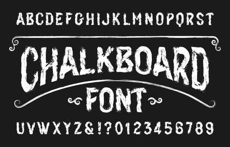 Chalkboard alphabet font. Handwritten retro letters and numbers. Stock vector typeface. Иллюстрация
