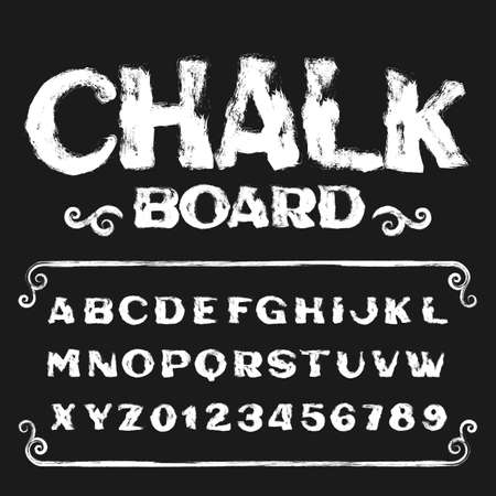 Chalkboard alphabet font. Hand drawn grunge letters and numbers. Stock vector typescript. Иллюстрация