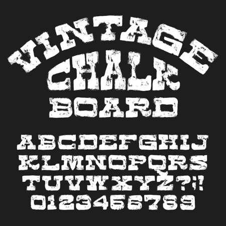 Vintage Chalkboard alphabet font. Hand drawn retro messy letters and numbers. Stock vector typescript.
