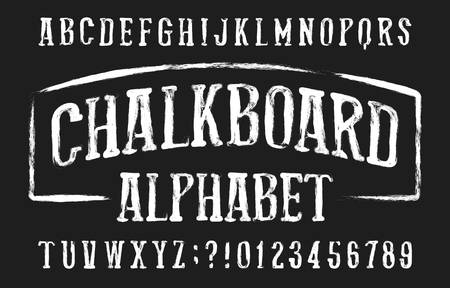 Chalkboard alphabet font. Hand drawn condensed messy letters and numbers. Stock vector typeface.