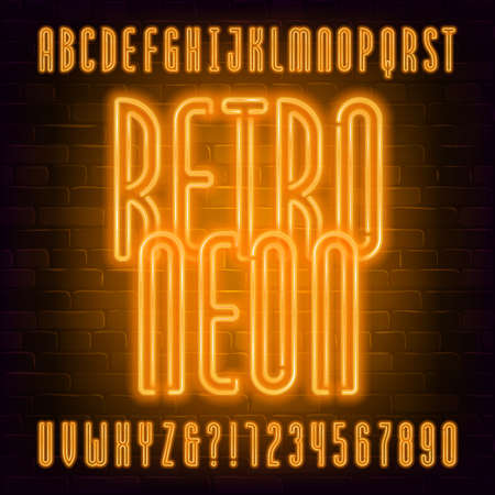 Retro Neon alphabet font. Orange neon light condensed letters and numbers on brick wall background. Stock vector typeface for your typography design. Иллюстрация