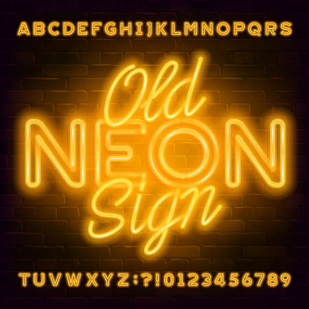 Old Neon Sign alphabet font. Yellow neon light letters and numbers on brick wall background. Stock vector typeface for your typography design.